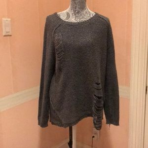 Gray distressed long sleeve sweater